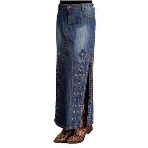 Stetson Long Aztec Print Double Split Denim Skirt